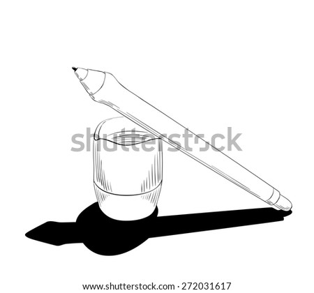 Graphic design instrument, pen for tablet with touchscreen, to digitalizing illustration or retouching photos  - stock photo