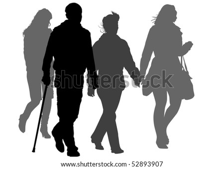 graphic disabled and women on a walk. Silhouettes on a white background - stock photo