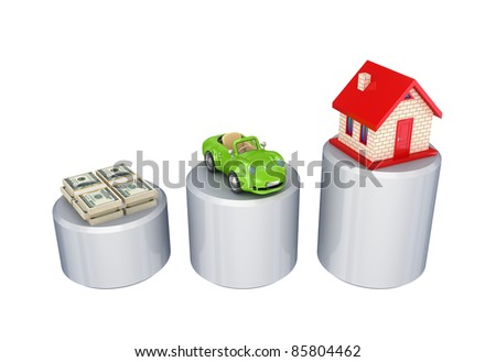 Graphic, dollar packs, green car and small house.Isolated on white background.3d rendered. - stock photo