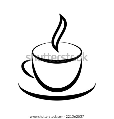 Graphic drawing of cup with hot drink - stock photo