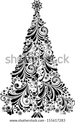 Graphic elegant Christmas tree isolated on White background.  illustration  - stock photo