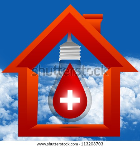 Graphic For Blood Donation Concept Present By The Light Bulb and Red Blood Drop With White Cross Sign Inside The House in Blue Sky Background - stock photo