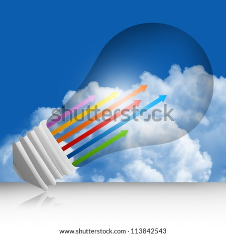 Graphic For Business Concept Present By Colorful Moving Up Arrow Inside The Light Bulb  in Blue Sky Background - stock photo