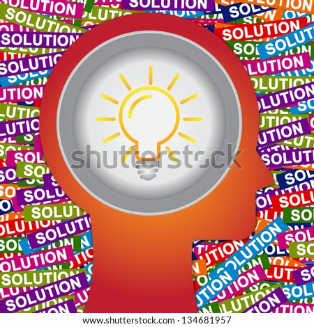 Graphic For Business Solution or Business Idea Concept Present By Red Head With Idea or Light bulb Sign Inside With Group of Colorful Solution Label Background - stock photo