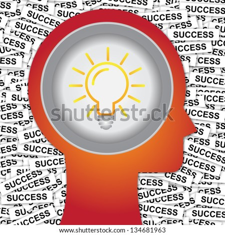 Graphic For Business Solution or Business Idea Concept Present By Red Head With Idea or Light bulb Sign Inside With Group of Success Label Background - stock photo