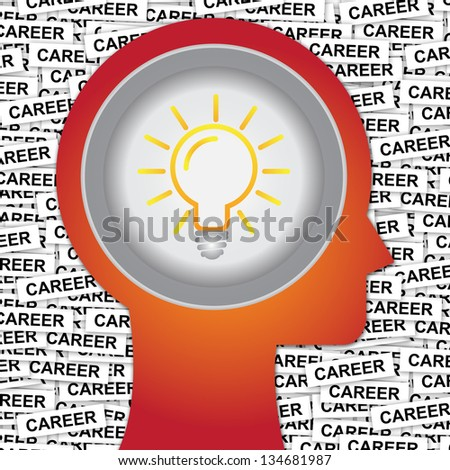 Graphic For Business Solution or Business Idea Concept Present By Red Head With Idea or Light bulb Sign Inside With Group of Career Label Background - stock photo