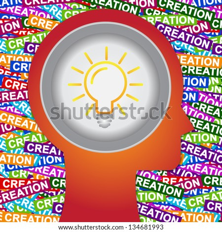 Graphic For Business Solution or Business Idea Concept Present By Red Head With Idea or Light bulb Sign Inside With Group of Colorful Creation Label Background - stock photo