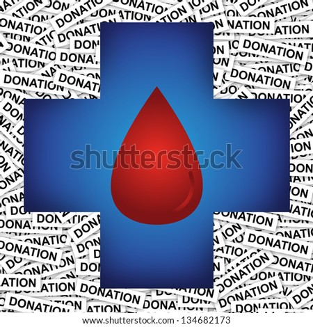 Graphic For Health Aid, Health Volunteer or First Aid Concept Present by Blue Cross With Red Blood Drop Inside in Donation Label Background - stock photo