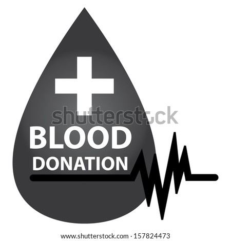 Graphic For Healthcare and Medical Concept Present By Black Glossy Style Blood Drop With  Blood Donation, Cross Sign and Heartbeat Graph Isolated On White Background  - stock photo