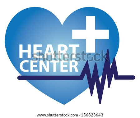 Graphic For Healthcare and Medical Concept Present By Blue Heart Center Sign With Cross Sign and Heartbeat Graph Isolated On White Background  - stock photo