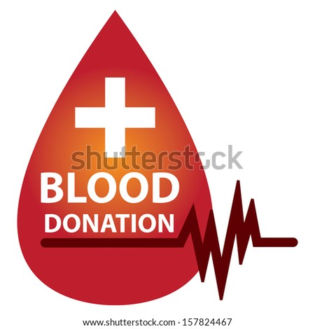 Graphic For Healthcare and Medical Concept Present By Red Glossy Style Blood Drop With  Blood Donation, Cross Sign and Heartbeat Graph Isolated On White Background  - stock photo
