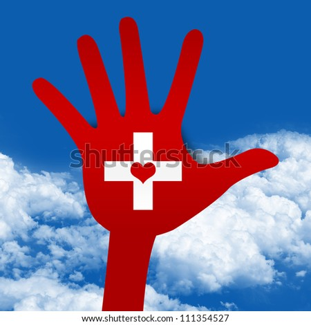 Graphic For Heart Donation Concept Present By Red Hand With Cross Sign and Heart Inside in Blue Sky Background - stock photo