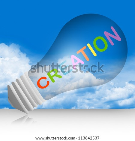 Graphic For Idea Concept, Light Bulb With Creation Text in Blue Sky Background - stock photo