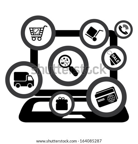 Graphic For Internet and Online Business Present By Group of Black E-Commerce Icon With Computer Laptop Isolated on White Background - stock photo