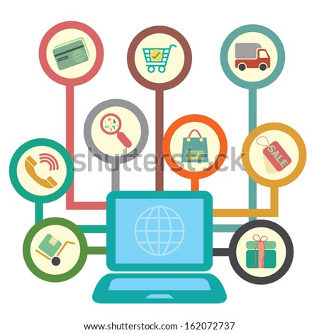 Graphic For Internet and Online Business Present By Group of Colorful Circle E-Commerce or E-Business Icon With Computer Laptop Isolated on White Background - stock photo