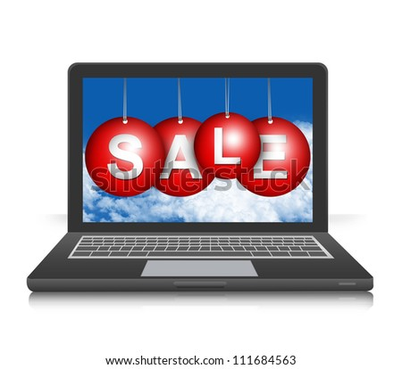Graphic For Promotion and Sale Season Campaign Present By Black Computer Notebook Screen With Hanged Colorful Sale Tag Isolated on White Background - stock photo