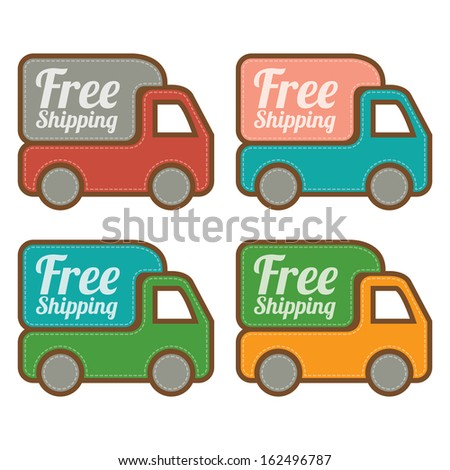 Graphic For Promotional Sale or Marketing Campaign Present By Colorful Vintage Style Free Shipping With Lorry or Truck Sign Isolated on White Background  - stock photo