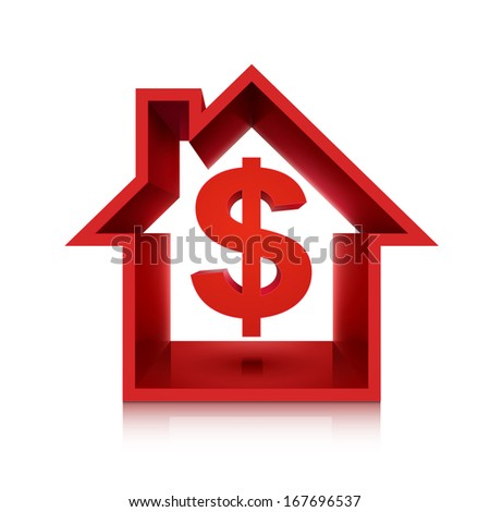 graphic for real estate business, 3d dollar symbol isolated on white background  - stock photo
