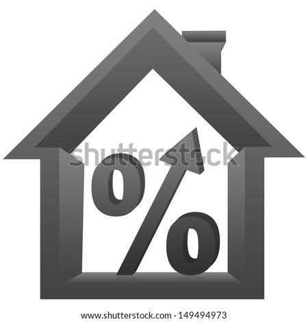 Graphic For Real Estate Business, 3D Percentage With Arrow Head Inside The Gray House Isolated On a White Background  - stock photo