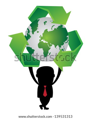 Graphic For Save The Earth or Stop Global Warming Concept Present By The Businessman Hold Green World and Green Recycle Sign Around Isolated on White Background - stock photo