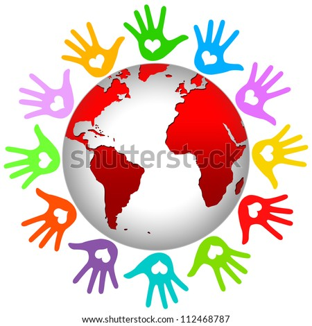 Graphic For Volunteer and Voting Concept Present By The Colorful Hands Around The Earth Isolated on White Background - stock photo