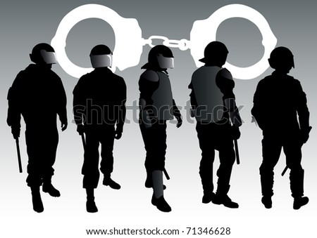 graphic group of special police forces and handcuffs - stock photo