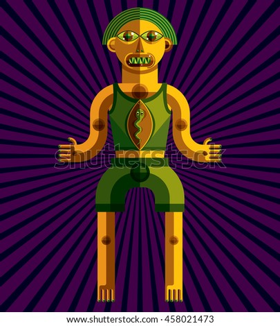 Graphic illustration, anthropomorphic character isolated on artistic background, decorative modern avatar made in cubism style.  - stock photo