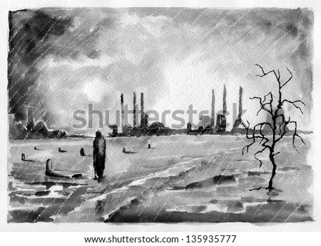 Graphic novel part # 4. Illustration of a sci-fi graphic novel about environment pollution. Black watercolor on a paper. - stock photo