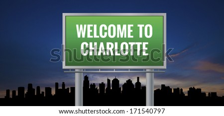 Graphic of a green Charlotte, North Carolina of United States largest cities sign on silhouette skyline and sunset background - stock photo