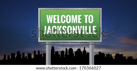 Graphic of a green Jacksonville, Florida of United States largest cities sign on silhouette skyline and sunset background - stock photo