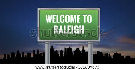 Graphic of a green Raleigh, North Carolina of United States largest cities sign on silhouette skyline and sunset background - stock photo