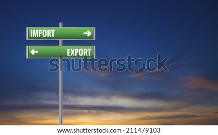 Graphic of a Import and Export Road Signs on Sunset Background - stock photo