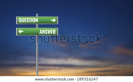 Graphic of a Question and Answer Road Signs on Sunset Background - stock photo