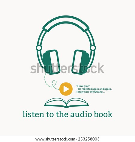 Graphic poster audiobooks, icons headphones and books. Sign of play. - stock photo