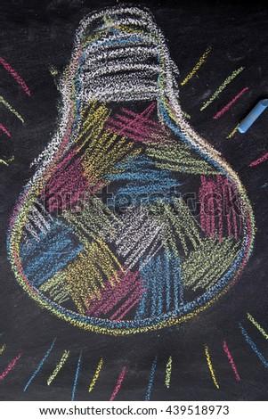 Graphic representation with chalk on the blackboard of the concept of multi-colored idea - stock photo