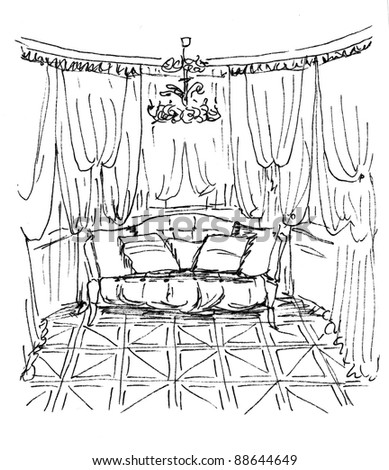 Graphic sketch,  living room, liner - stock photo