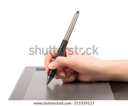 Graphic tablet, hand and feather isolated on white  - stock photo