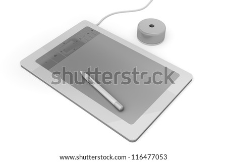 Graphic tablet on white background - stock photo