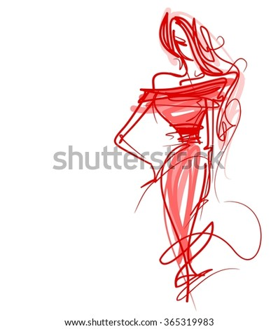 graphic with beautiful young   girl model for design. Fashion, style, youth,   beauty,  . Graphic, sketch drawing. Sexy woman. dress.  - stock photo
