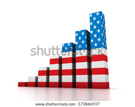 Graphic with USA flag. - stock photo