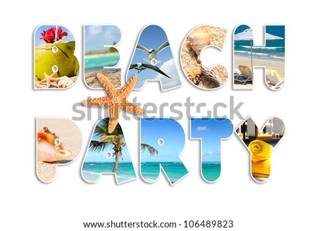 Graphic words Beach party in english language - stock photo