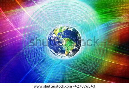Graphical Digital Technology World Background, Waving Digital Lines Passing Through Space. New innovative Internet technologies. Elements of this image furnished by NASA. - stock photo