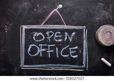 Graphical representation of the writing, the office opened, written with chalk on blackboard - stock photo