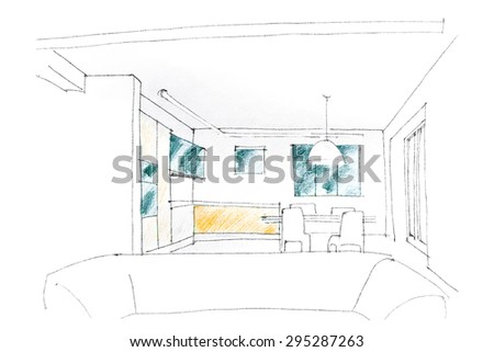 graphical sketch by pencil of an interior living room - stock photo