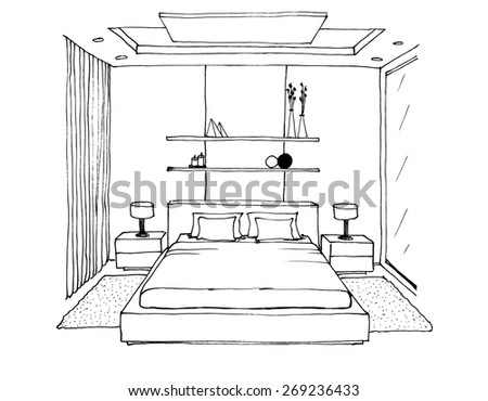 Graphical sketch of an interior bedroom, liner - stock photo