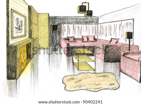 Graphical sketch of an interior living room - stock photo