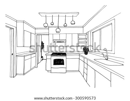 Graphical sketch, the kitchen modern, liner - stock photo