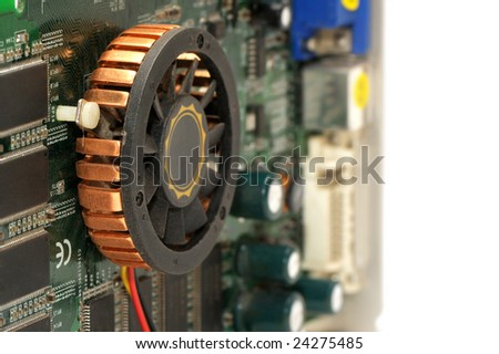 graphics card isolated on a white background - stock photo