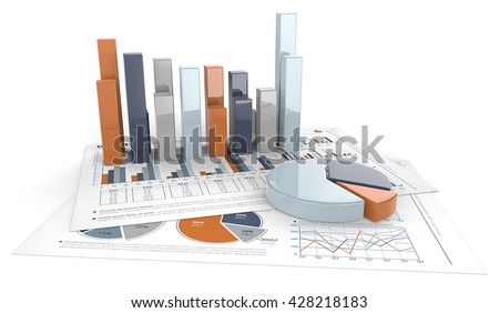 Graphs and Charts. 3D render of financial documents with graphs and pie charts. Calm Colors. - stock photo