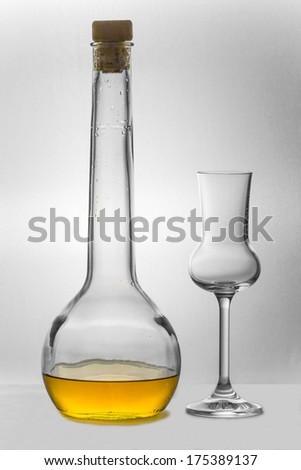 Grappa in a bottle standing next to an empty Grappa glass - stock photo